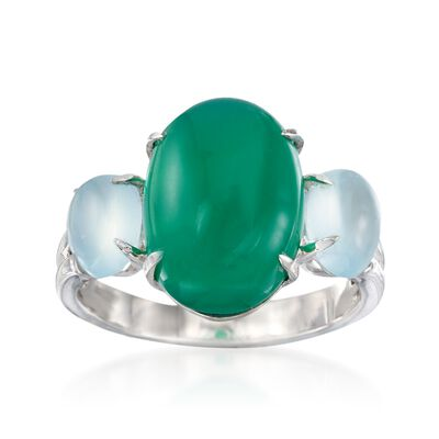 Green and Blue Chalcedony Ring in Sterling Silver, , default