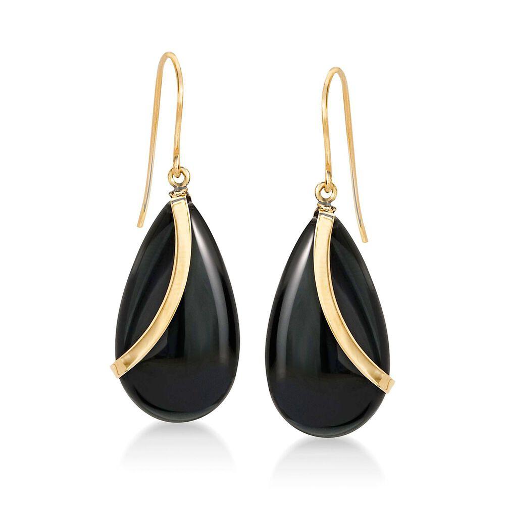 Pear Shaped Black Onyx Drop Earrings In 14kt Yellow Gold Default