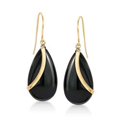 Pear-Shaped Black Onyx Drop Earrings in 14kt Yellow Gold, , default