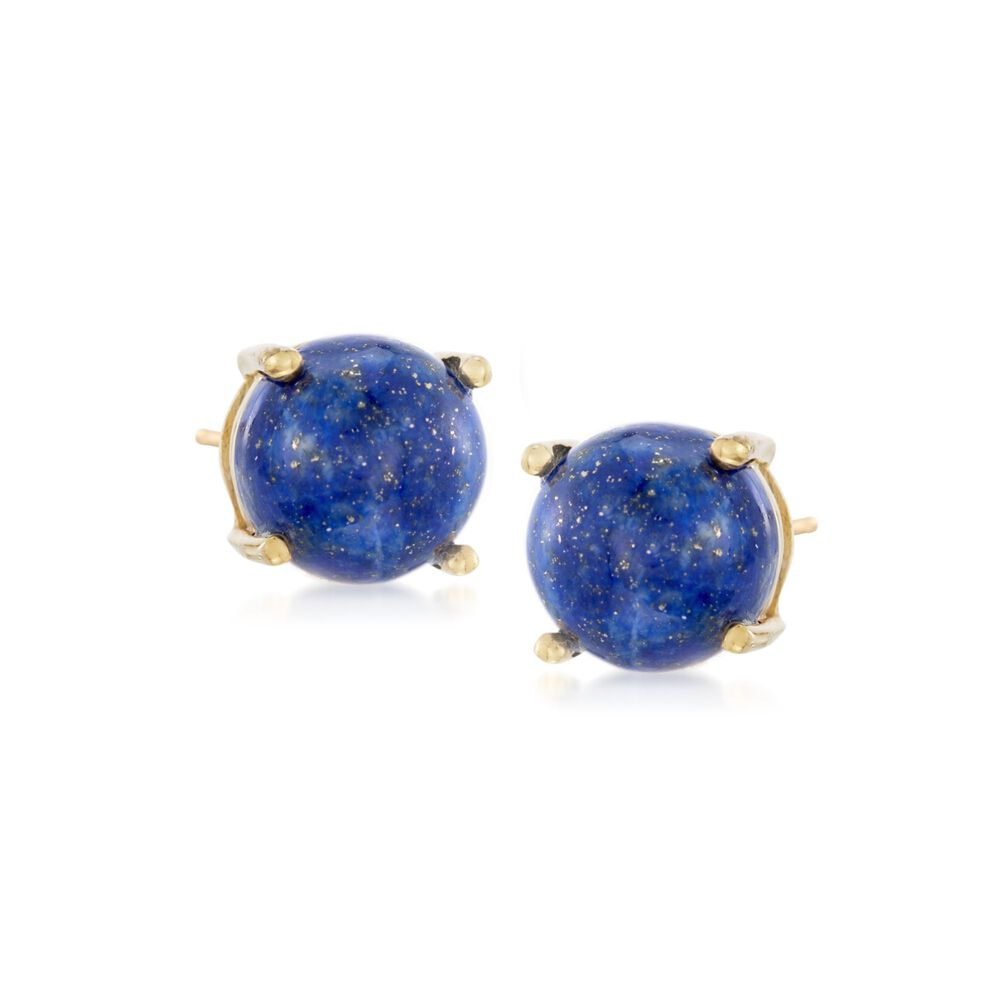 8mm Lapis Stud Earrings In 14kt Gold Over Sterling Default