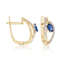 ".60 ct. t.w. Sapphire and .15 ct. t.w. Diamond Hoop Earrings in 14kt Yellow Gold. 1/2"", , default"
