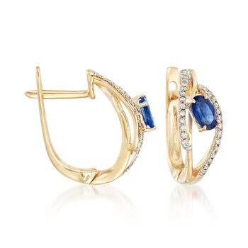 """.60 ct. t.w. Sapphire and .15 ct. t.w. Diamond Hoop Earrings in 14kt Yellow Gold. 1/2"""", , default"""