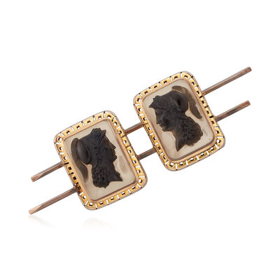C. 1950 Vintage Black Agate Double Cameo Bar Pin in 14kt Yellow Gold, , default