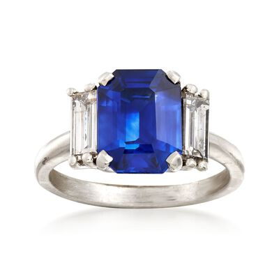 C. 2000 Vintage 2.45 Carat Sapphire and .60 ct. t.w. Diamond Ring in Platinum