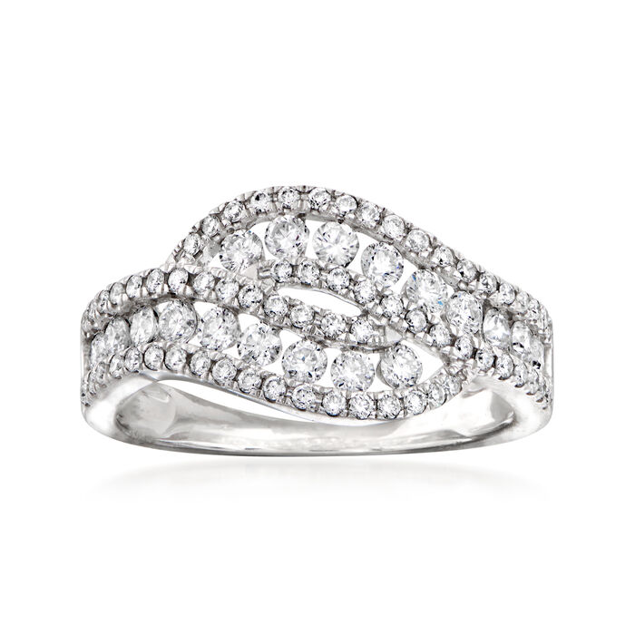 C. 2000 Vintage Giantti .88 ct. t.w. Diamond Bypass Ring in 18kt White Gold