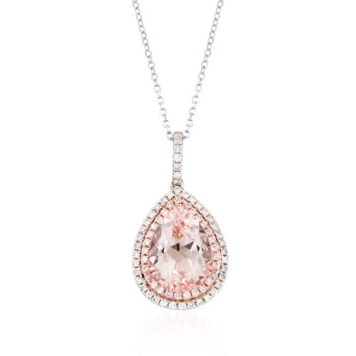 """2.50 Carat Morganite and .30 ct. t.w. Diamond Pendant Necklace in 14kt Two-Tone Gold. 18"""", , default"""