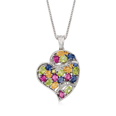 2.80 ct. t.w. Multi-Gem Heart Pendant Necklace in Sterling Silver