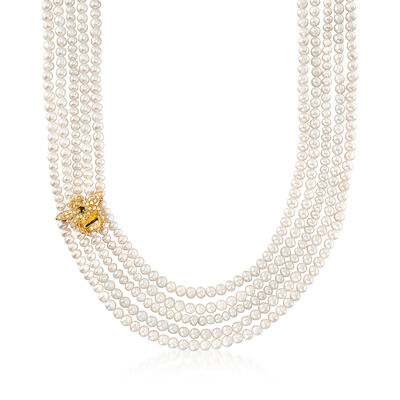 Italian 4-5mm Cultured Pearl and .48 ct. t.w. White and Black CZ Bee Necklace in 18kt Gold Over Sterling, , default
