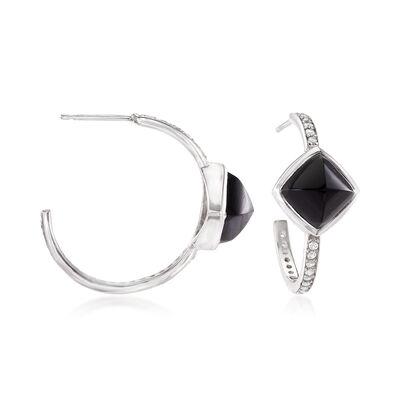 Black Onyx and .50 ct. t.w. White Topaz C-Hoop Earrings in Sterling Silver