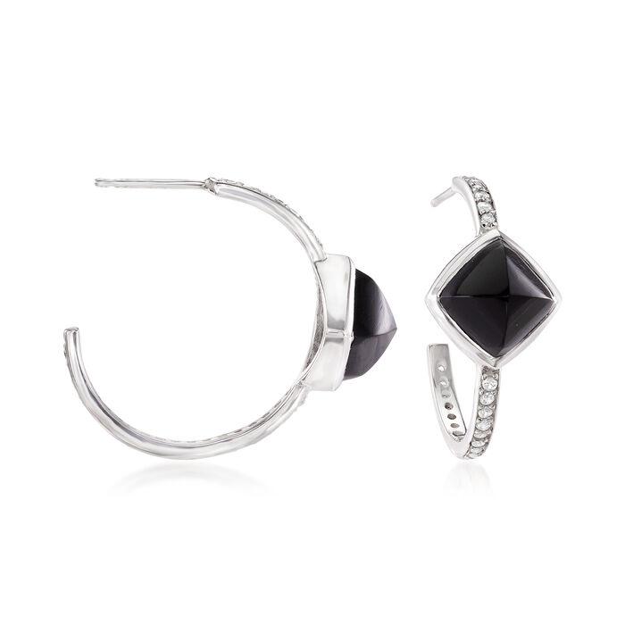 "Black Onyx and .50 ct. t.w. White Topaz C-Hoop Earrings in Sterling Silver. 7/8"""