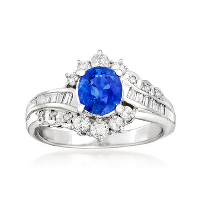 C. 1990 Vintage 1.17 Carat Sapphire and .52 ct. t.w. Diamond Ring in Platinum, , default