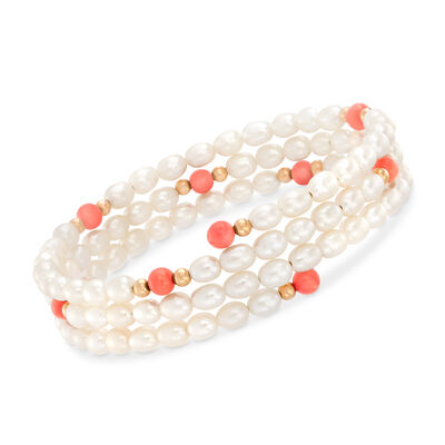 4-4.5mm Cultured Pearl and Coral Multi-Strand Adjustable Wrap Bracelet in 14kt Yellow Gold, , default