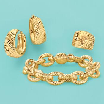 Italian Andiamo 14kt Yellow Gold Geometric Textured Dome Ring