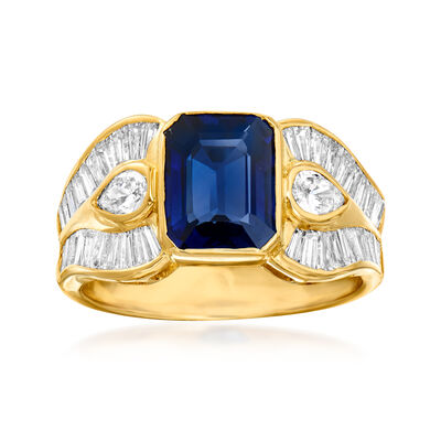C. 1980 Vintage 2.30 Carat Sapphire and 1.56 ct. t.w. Diamond Ring in 18kt Yellow Gold