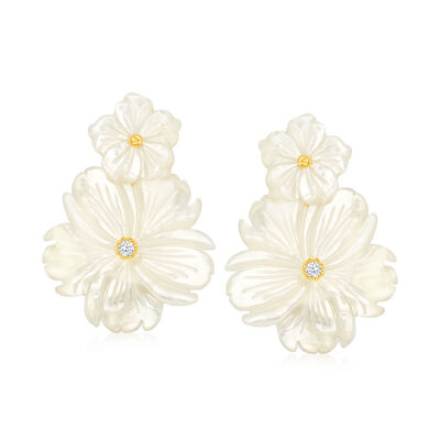 Mother-Of-Pearl and .20 ct. t.w. White Topaz Flower Removable Drop Earrings with 18kt Gold Over Sterling