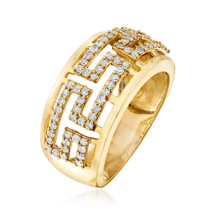 .55 ct. t.w. Diamond Greek Key Ring in 14kt Yellow Gold