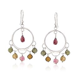12.00 ct. t.w. Multicolored Tourmaline Drop Earrings in Sterling Silver , , default