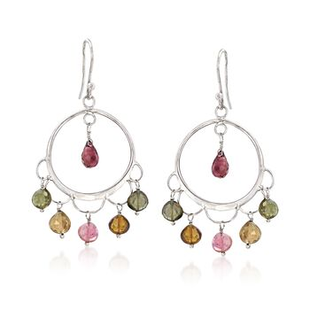 12.00 ct. t.w. Multicolored Tourmaline Drop Earrings in Sterling Silver , , default