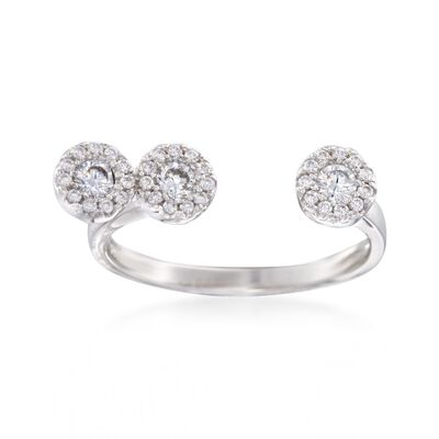 .38 ct. t.w. Pave CZ Circles Cuff Ring in Sterling Silver, , default