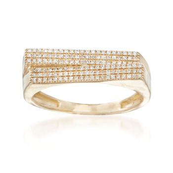 .18 ct. t.w. Pave Diamond Bar Ring in 14kt Yellow Gold, , default