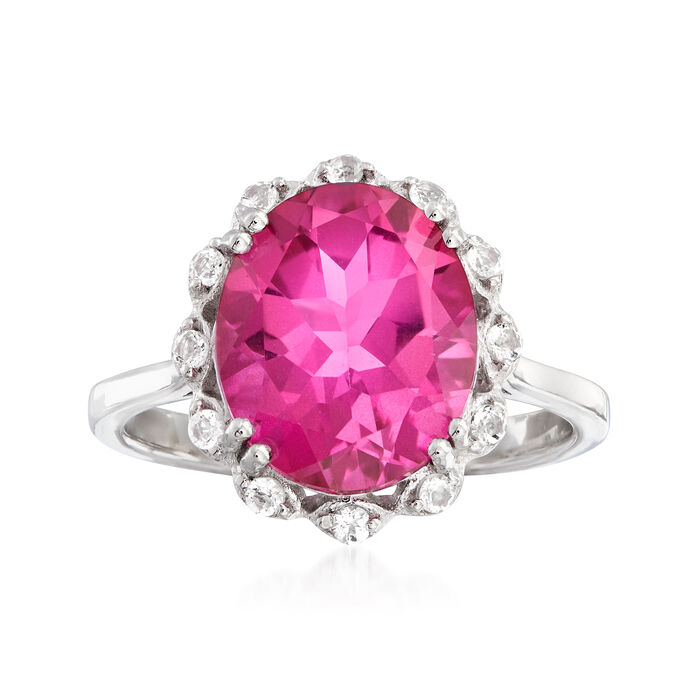 5.95 Carat Pink and White Topaz Ring in Sterling Silver