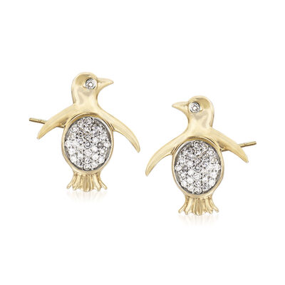 .10 ct. t.w. Diamond Penguin Earrings in 14kt Yellow Gold