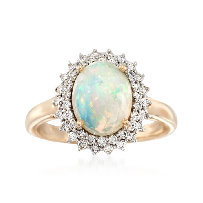 Opal and .37 ct. t.w. Diamond Ring in 14kt Yellow Gold, , default