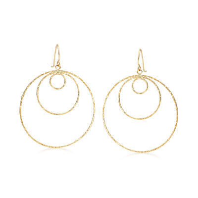 14kt Yellow Gold Textured and Polished Open Multi-Circle Drop Earrings, , default