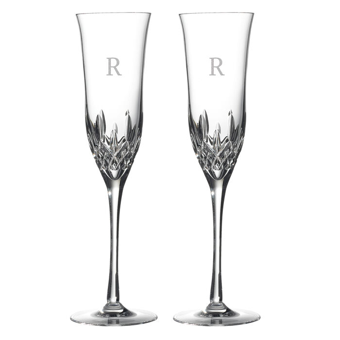 "Waterford Crystal ""Lismore Essence"" Set of 2 Block Initial Toasting Flutes"