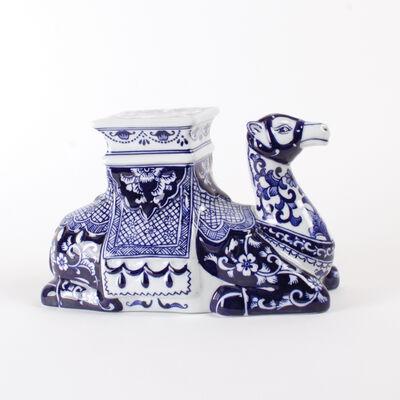 Blue Chinoiserie Porcelain Camel Figurine , , default