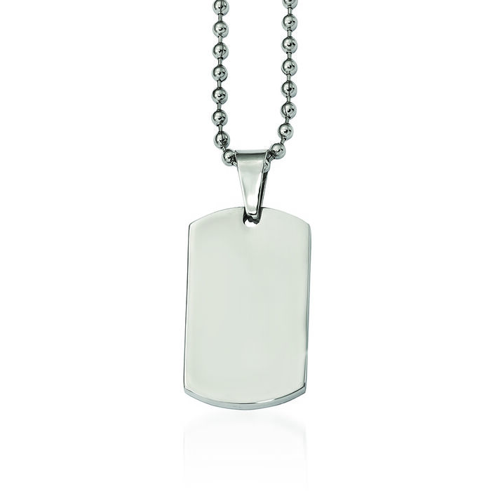 "Men's Stainless Steel Polished Dog Tag Pendant Necklace. 24"", , default"