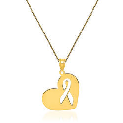 "14kt Yellow Gold Breast Cancer Awareness Heart Charm Necklace. 18"", , default"