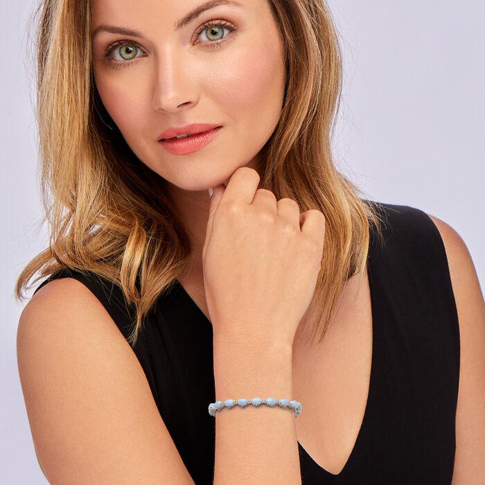Blue Opal Tennis Bracelet in Sterling Silver