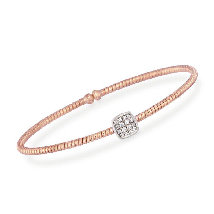 ".16 ct. t.w. Diamond Square Bracelet in 18kt Rose Gold. 7"", , default"