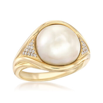 12-12.5mm Mabe Pearl Ring in 14kt Yellow Gold with Diamond Accents, , default