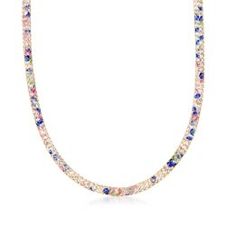 Italian 21.00 ct. t.w. Multicolored CZ and Mesh Necklace in 14kt Yellow Gold, , default