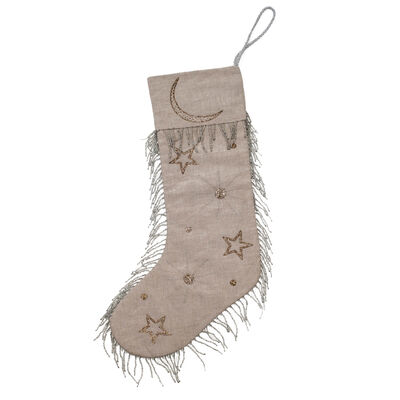 Joanna Buchanan Linen and Beaded Celestial Stocking, , default