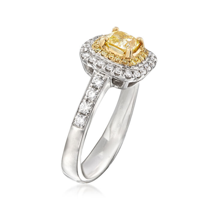 1.26 ct. t.w. Yellow and White Diamond Ring in 18kt Two-Tone Gold
