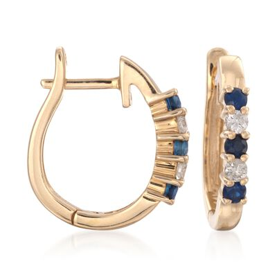 .20 ct. t.w. Sapphire and .10 ct. t.w. Diamond Hoop Earrings in 14kt Yellow Gold, , default