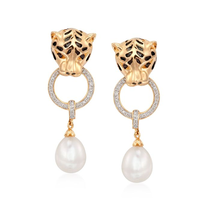 8.5-9mm Cultured Pearl and .10 ct. t.w. Diamond Panther Earrings in 18kt Gold Over Sterling