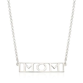 "Sterling Silver ""Mom"" Pendant Necklace, , default"