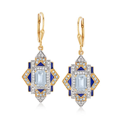 3.30 ct. t.w. Blue and White Topaz Drop Earrings in 18kt Gold Over Sterling, , default