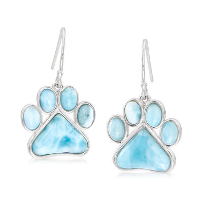 Larimar Paw Print Earrings in Sterling Silver, , default