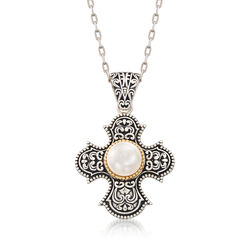10.00mm Cultured Pearl Scrolled Cross Pendant Necklace in Sterling Silver and 14kt Gold, , default