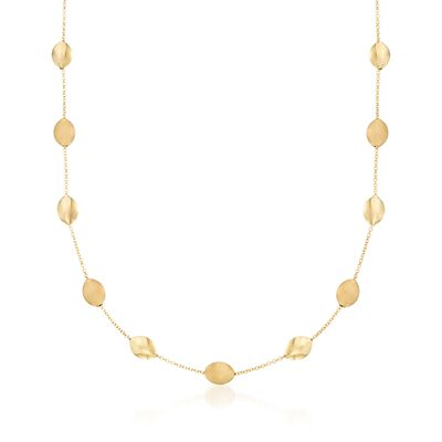 14kt Yellow Gold Pebble Station Necklace, , default