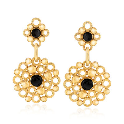 Italian 14kt Yellow Gold Multi-Circle Drop Earrings with Black Enamel, , default