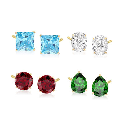 17.00 ct. t.w. Multicolored CZ Jewelry Set: Four Pairs of Earrings in 18kt Gold Over Sterling