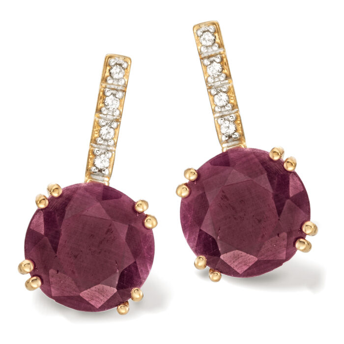 10.00 ct. t.w. Ruby Earrings with White Topaz Accents in 14kt Gold Over Sterling