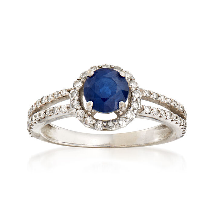 C. 1990 Vintage 1.00 Carat Sapphire and .50 ct. t.w. Diamond Ring in 14kt White Gold. Size 6