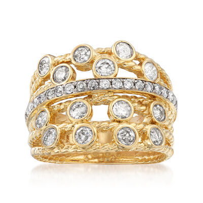 1.25 ct. t.w. Diamond Multi-Row Twist Ring in 14kt Yellow Gold, , default